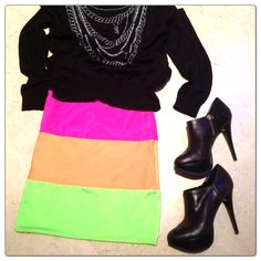 How to wear your neon skirt during chilly spring! Pair it with a knit/sweater & ankle boots! 10/10! ;) Buy your SK skirt on www.sexkittencouture.com << 50% off Flash Sale until March 3rd! #sexkittencouture #neon #neonpink #heatwave #summer #skirt #miniskirt