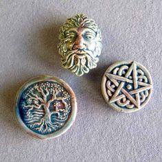 Wiccan Celtic Raku Bead Assortment 3 Pieces Tree of by BeadedArts