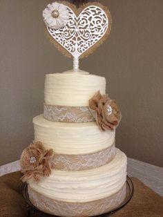 Burlap lace wedding cake / http://www.deerpearlflowers.com/rustic-country-burlap-wedding-cakes/2/