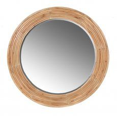 Circular 'Alvin' Mirror With Ridged Wooden Frame 95cm Diameter