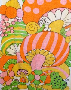 Mushroom Beach Towel, Mod Colors, Pink Orange Shrooms, Flower Power, Groovy Bath…