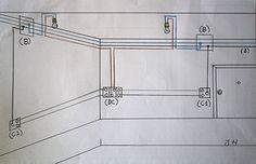 Esquema de un circuito eléctrico con un conmutador doble