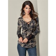 839e3f9fbc6c8 Venus Women s Lace Detail Camo Tops ( 40) ❤ liked on Polyvore featuring tops