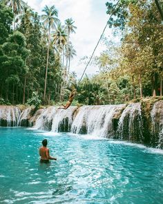 """- The Philippines  (@the_philippines) on Instagram: """" @haylsa Tarzan rope swing at Cambugahay Falls, Siquijor #siquijor @topdestinationsph """""""