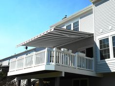 Retractable awnings come in thousands of color and style combinations. Motorized awnings are powered by Somfy motors and can be operated by remote control, wall switch or smart phone.