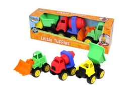 The Little Tuffies Set includes 3 chunky toy trucks in bright colors: a dump truck, a bulldozer, and a cement truck. Children will delight in just rolling their trucks around, but since they have working parts, kids can also push, pour, and dump in the sand or the bath. These toy trucks have a sturdy, kid-tough design that ensures that they can take all the dropping and throwing that kids can dish out, and the PVC-free plastic is safe to chew. Age 12 months and up. #Kidoozie #CamelotKids…
