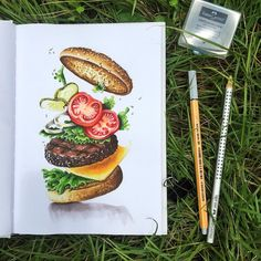 Burger, food, tasty, delicious, marker art, drawing, food sketch, hamburger, cheeseburger by @art.is.journey #art_daily #sketch_daily #art #touchtwin #shinhanart #sketch #deviantart #travel #markersketch #illustration #drawing…