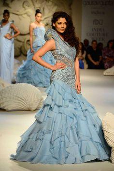 Gaurav Gupta at India Couture Week 2016 - Look 14 Indian Wedding Gowns, Indian Gowns, Indian Bridal, Indian Wear, Saree Gown, Lehenga, Anarkali, Indian Designer Outfits, Designer Dresses