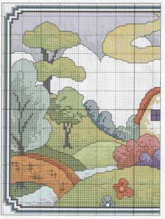 Schema punto croce Casita Colores 01