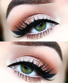 Peach and cream eye makeup look. Make-up for eyebrows, blue eyes . - Peach and cream eye makeup look. Make-up for eyebrows, blue eyes, green eyes and … – - Neutral Eye Makeup, Red Eye Makeup, Pretty Eye Makeup, Makeup Looks For Green Eyes, Orange Makeup, Eye Makeup Tips, Makeup Goals, Pretty Eyes, Gorgeous Makeup