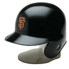MLB San Francisco Giants Replica Mini Baseball Batting Helmet by Riddell. $14.99. Great for Autographs and to display your team spirit.. One half-scale MLB Batter's Helmet with Team Colors and Logo. Left-flap Style (for Right-handed batters).. Includes display stand. Approximately 5-inches tall (with stand).. The Riddell MLB Replica Mini Helmet is a half-scale version of your favorite team helmet. Ideal for autographs, it comes in official team colors and logo...