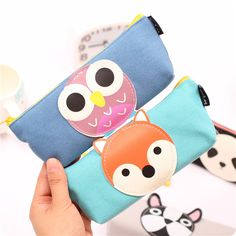 1X Kawaii Lovely Panda Owl Animals Canvas Pen Bag Pencil Storage Case Organizer School Office Supply Birthday Gift