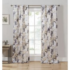 Watercolor Floral Rod Pocket Curtain Panel in Taupe (Set of 2)