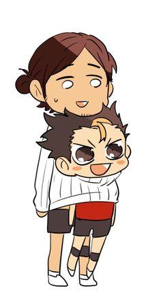 Nishinoya X Asahi - look at nishinoya's face he's so cute