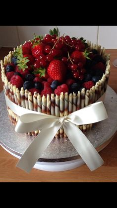 Chocolate cake with fruit & cigarellos