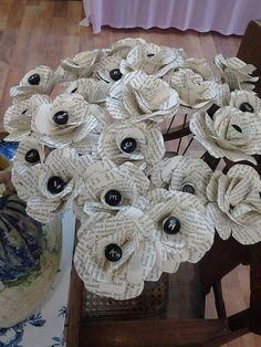 Flowers made from book pages, very cool!