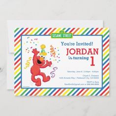Sesame Street | Elmo - Rainbow 1st Birthday Invitation: Sesame Street | Elmo - Rainbow 1st Birthday Invitation $2.51 by SesameStreet Sesame Street Birthday Invitations, Elmo Invitations, Rainbow Birthday Invitations, Birthday Favors, 4th Birthday, Kids Cartoon Characters, Monster Party, Birthday Gifts For Girls, Check Material