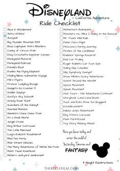 Disneyland Ride Checklist {Free Printable} thekeeledeal.com #disneyland #disney #freeprintable #summervacation #californiaadventure #familytravel