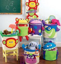 KIDS STORAGE PATTERN / Storage Baskets and Wall Hangings With Pockets / Monkey - Shark - Giraffe