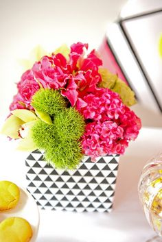 This hot pink centerpiece packs a major punch.
