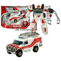 Hasbro Year 2007 Transformers Movie Series 1 Voyager Class 7 Inch Tall Robot Action Figure - Autobot RESCUE RATCHET with Automorph Forearm Cannon and Hidden Axe (Vehicle Mode: Hummer H2 Ambulance)