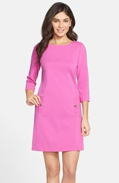 Lilly Pulitzer® 'Charlene' Stretch A-Line Dress at Nordstrom.com. Forgiving rib-knit fabric is loosely shaped into this bateau-neck day dress flourished with gleaming pocket buttons.