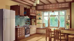 "Background for visual novel ""Miracle Fair"" Kitchen at night Game Background Art, Kitchen Background, Scenery Background, Living Room Background, Background Drawing, Cartoon Background, Animation Background, Anime Backgrounds Wallpapers, Anime Scenery Wallpaper"