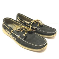 8265b7f5cd3 Womens Sperry Top Sider Black Cheetah Print Suede Loafers Shoes Size 12   SperryTopSider  BoatShoes  Casual