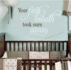 Nursery ideas What a beautiful idea!  I love, love, love this wall decor.  Something that could almost last a lifetime.