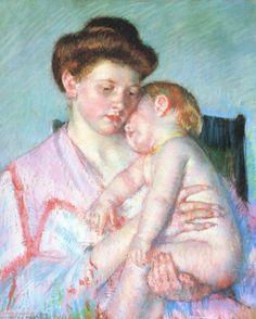 d80282dc197 Sleeping Baby, by Mary Cassatt. 1910 Camille Pissarro, Edgar Degas,  Παιδικός Ύπνος