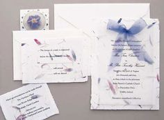 satin bow-tied wedding invitations