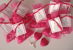 Personalised Hen Night/Hen Party Favours 2 Choc Hearts/Wine Glass Charm 99P ONLY