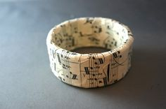"""Sheet Music Bangle - JEWELRY AND TRINKETS - Hey everyone. This is the first in a new line I'm working on called """"Fear of Music"""", all made from a bunch of - Craft Tutorials, Craft Projects, Cuff Bracelets, Bangles, What To Make, American Idol, Craft Patterns, Jewelry Crafts, Things To Think About"""