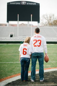 what a cute save the date idea. i want to marry a fabulous georgia boy and take our save the date pics at sanford stadium :))))