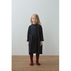 muku - Navy Dress with Pleats and Collar