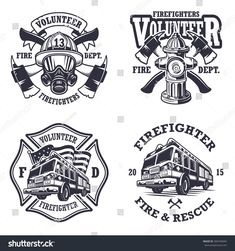 Set of firefighter emblems, labels, badges and logos on light background. Monochrome style - buy this stock vector on Shutterstock & find other images. Firefighter Logo, Firefighter Crafts, Firefighter Quotes, Volunteer Firefighter, Firefighter Tattoos, Firefighter Images, Firefighter Stickers, Badge Logo, Monochrome Fashion