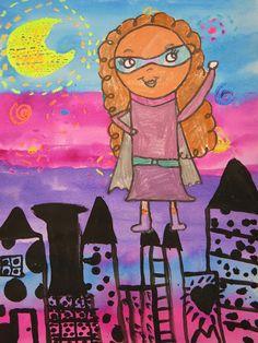 Cassie Stephens: In the Art Room: Second Grade Super Hero Selfies!