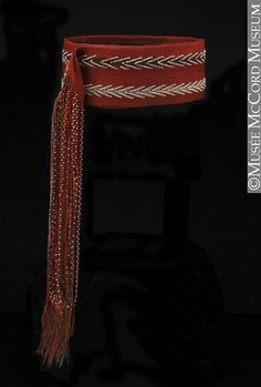 Finger-woven sash (ceinture fléchée)  Anonyme - Anonymous  Eastern Woodlands  Aboriginal: Iroquois (Mohawk?)  1765-1766, 18th century  Wool, glass beads. Shown at McCord Museum