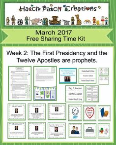 Free Sharing Time Kit: March 2017: Week 2. The First Presidency and the Twelve Apostles are prophets.