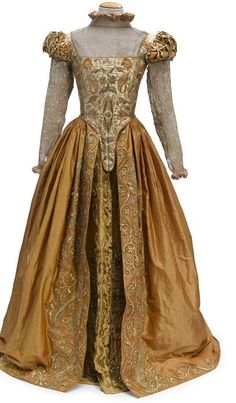 "Gwyneth Paltrow ""Viola"" orange silk gown with gold embroidery from Shakespeare in Love"