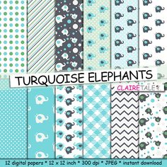 Elephant digital paper TURQUOISE ELEPHANTS with by ClaireTALE, $4.80