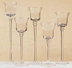 Tall Candle Holder Sets | Stemmed glass votive candle holders for wedding receptions, table ...