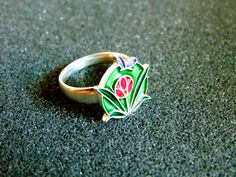 Beautiful silver and enamel ring-Women statement ring- Silver and enamel flower ring-Statement silver 925 ring-Artisan jewelry- Greek art by ArchipelagosBreeze on Etsy