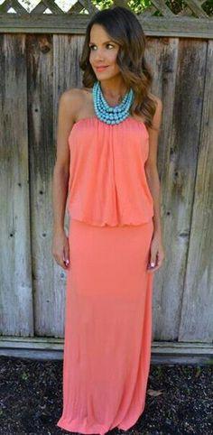 Maxi dress coral ❤
