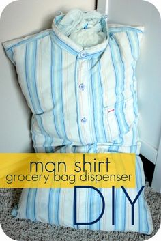 upcycle a man's shirt to a grocery bag dispenser in 10 minutes