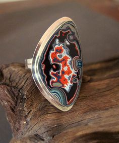 this is just cool idea-- old paint!  Fordite Motor Agate & Sterling Ring No1074 SIZE 65 OOAK by Fordite, $115.00