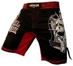 """Venum Gladiator Mask Fightshorts-Black/Red-2XL Venum. $59.95. 100% High Quality Microfiber (polyester)Flex system for a better mobilityVery high quality printReinforced split outer leg seams for unrestricted movementFour-way crotch panelOne-way horizontal and vertical velcro enclosure with external drawstring for a smooth fitUltra lightweightSizes translate to: XS (30""""), S (31/32""""), M, (33""""), L (34/35""""), XL (36/37""""), XXL (38"""")"""