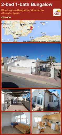 Bungalow for Sale in Blue Lagoon Bungalow, Villamartin, Alicante, Spain with 2 bedrooms, 1 bathroom - A Spanish Life Valencia, Portugal, Small Front Gardens, Bungalows For Sale, Alicante Spain, Spanish House, Open Plan Kitchen, Blue Lagoon, Humble Abode