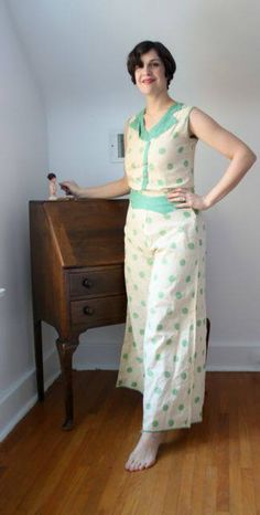 1930s two-piece cream and celadon green polka dotted beach pajama set.