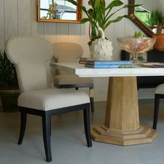 I adore the sophisticated square Palomino Dining Table from BeeLine Home by Bunny Williams.  The detail on the base is incredible, and the shagreen top is gorgeous.  What a showstopper!   BeeLine Home (H/W 310 N. Hamilton Street, Hamilton Ct. C) #HPMkt